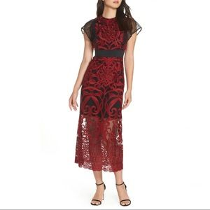 Foxiedox Red and Black Embroidered Dress Sz 2 New!